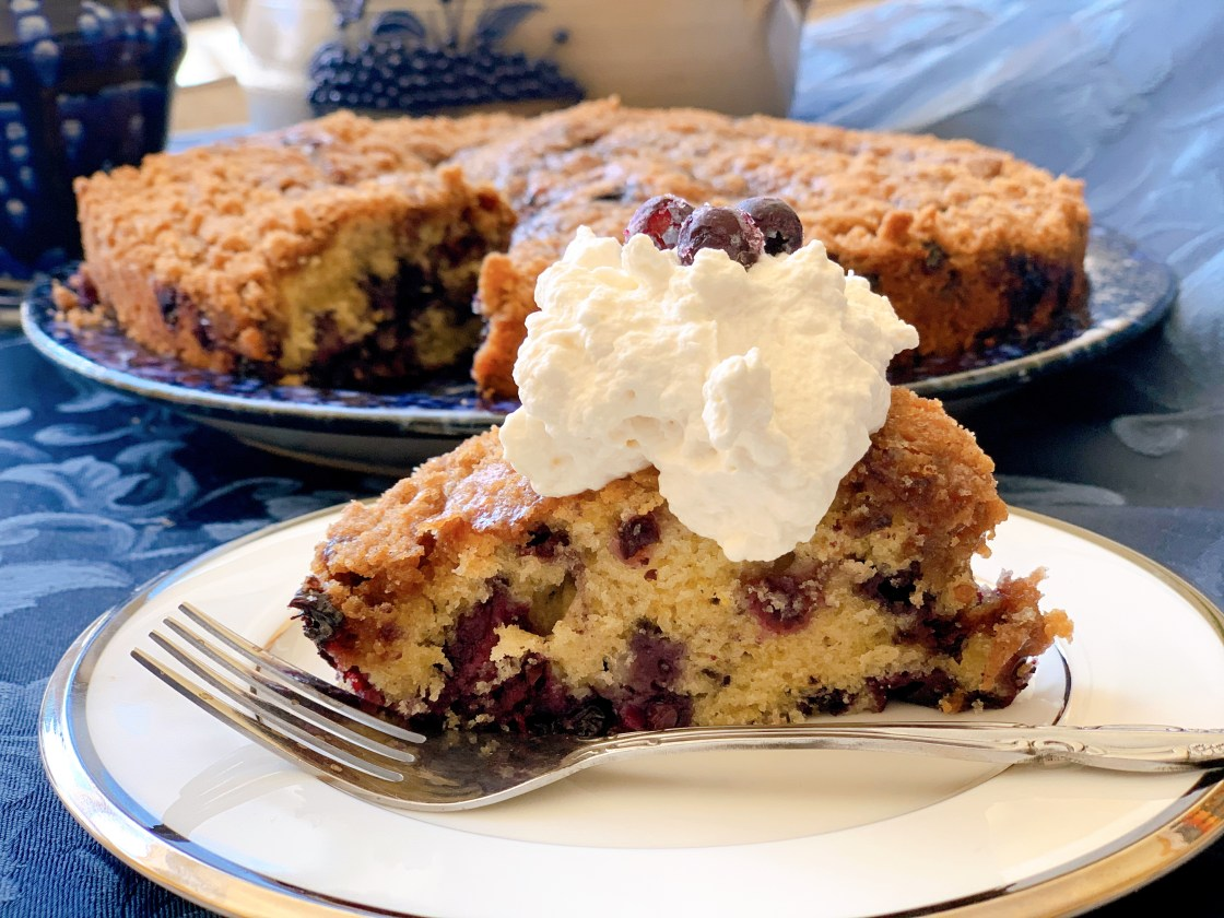 Wild Blueberry Buckle - slice of cake