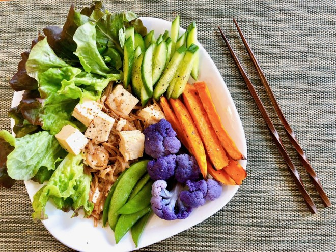 Chinese Five Spice Tofu Bowl - top down view