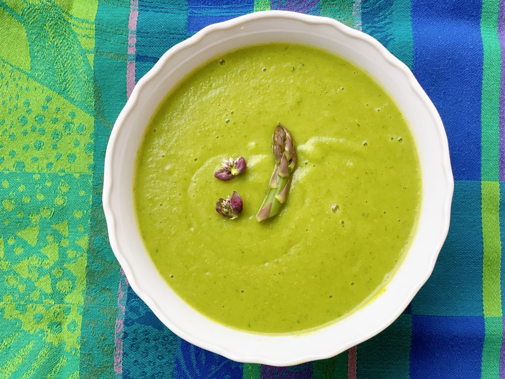 Asparagus (No cream) Creamy Soup - with garnish and overhead view