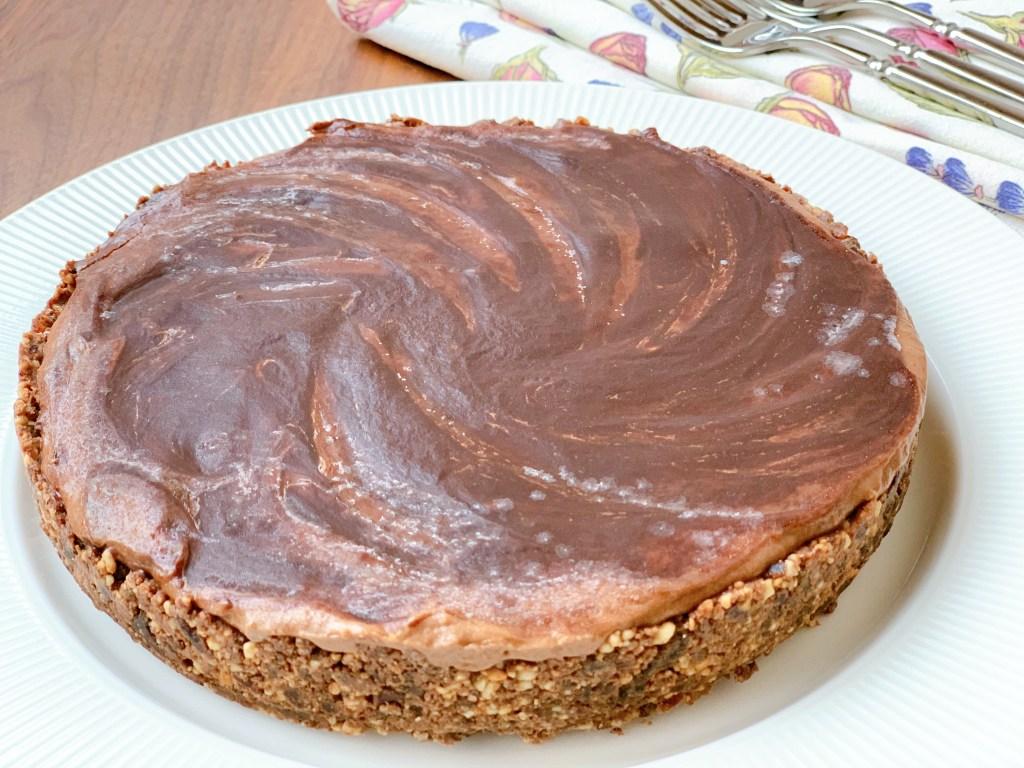 No-Bake Chocolate Peanut and Banana Pie - whole pie on an angle