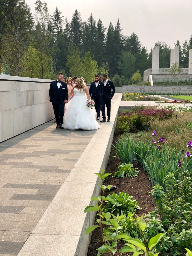 Aga Khan Garden at U of A Botanic Gardens - wedding party