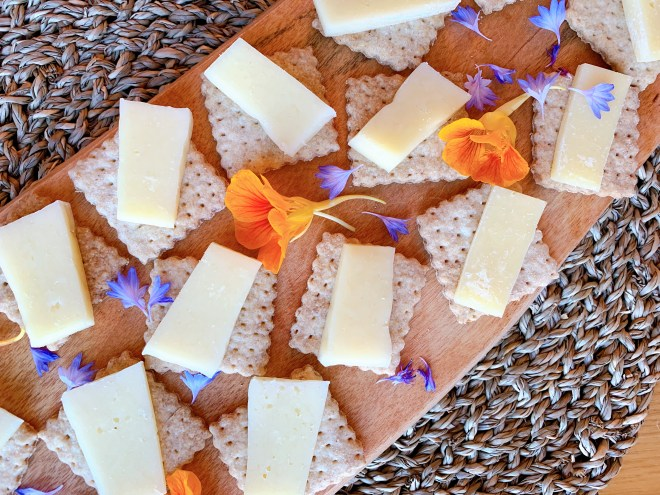 Red Fife Wheat Crackers with cheese