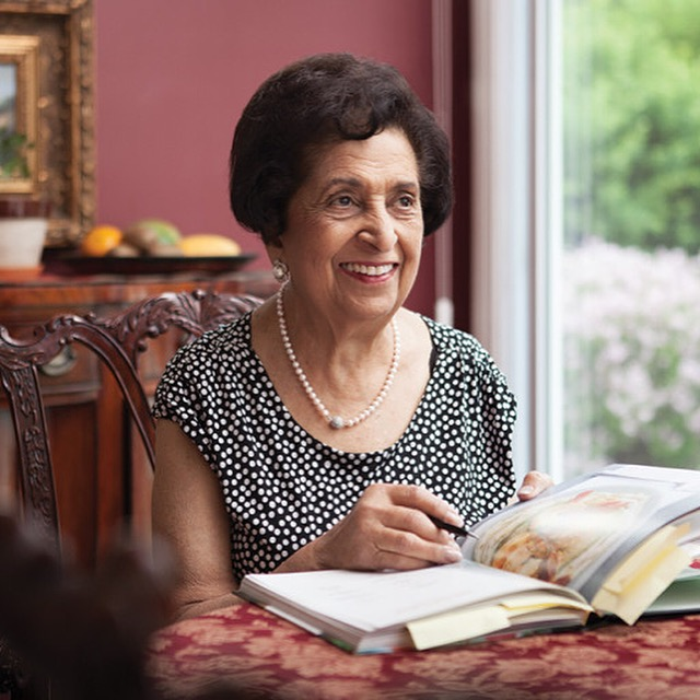 Noorbanu Nimji' - editing a cookbook in her home