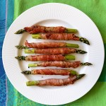 Prosciutto Wrapped Asparagus - overhead view