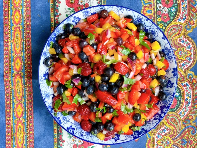 Three Berry Salsa - Overhead view