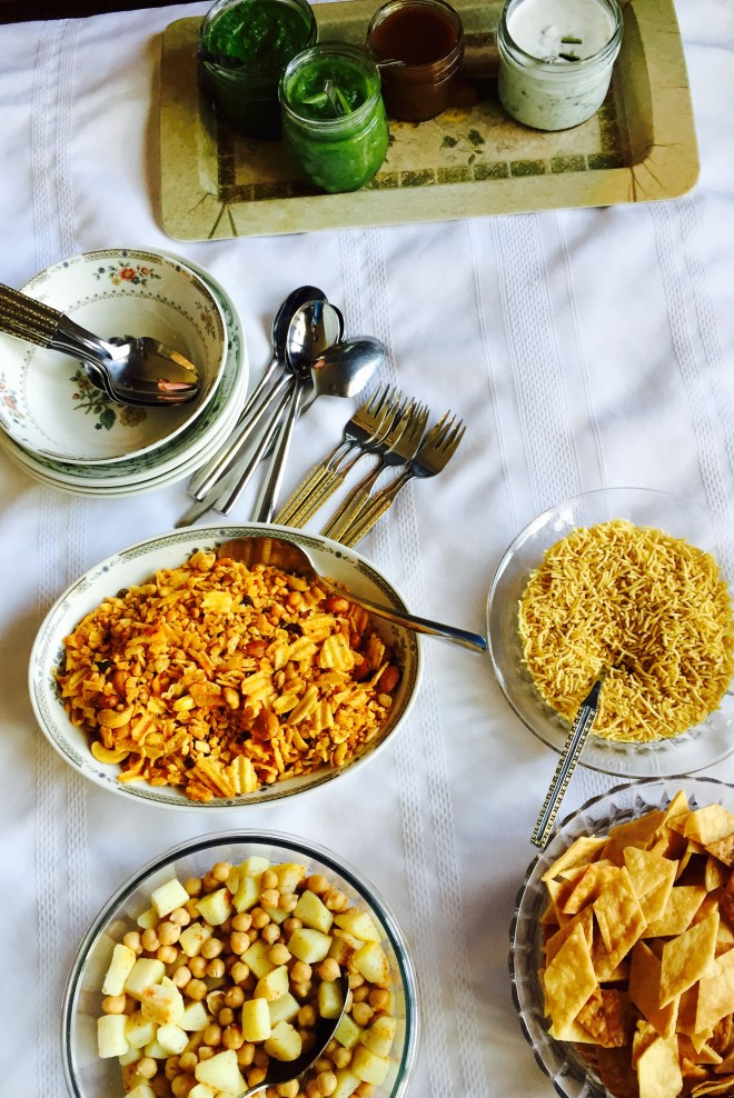Paapdi Chaat - ingredients shown