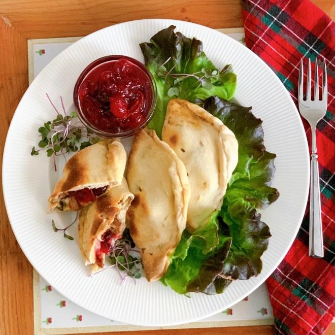 Hot Turkey Sandwich Calzones = overhead view
