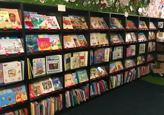 Rows and rows of story books completely cover one wall