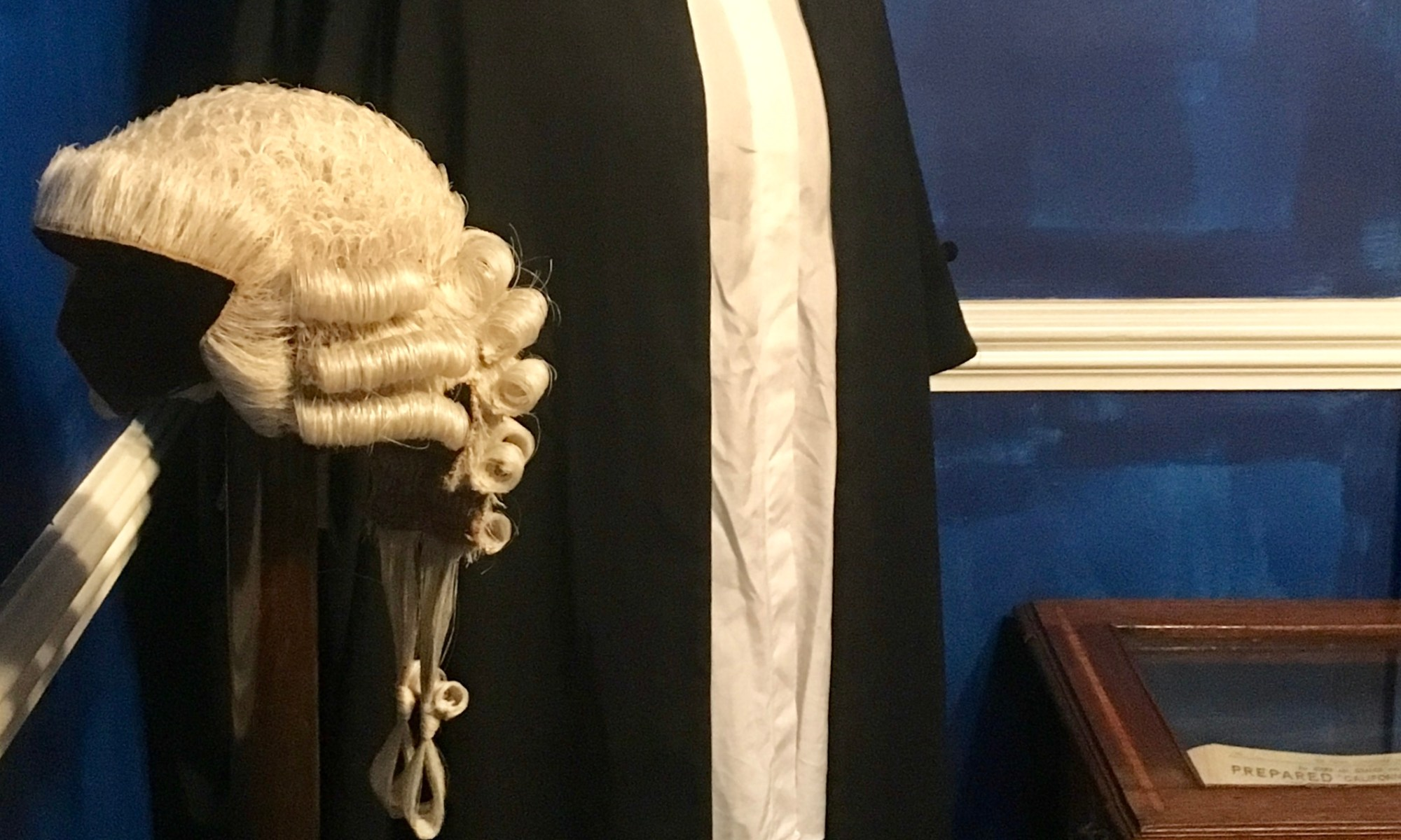The Barrister's wig and gown displayed in the corner of the new floor 'Murder and the Barrister'