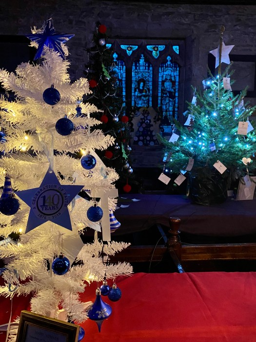 Blue and white Christmas trees