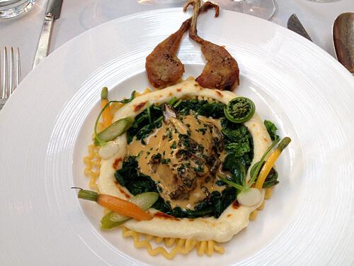 Quail-Macaroni-Spinach