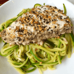 Orange-Ginger Zucchini Noodles with Sesame Crusted Ahi