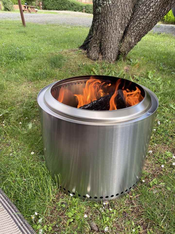 Solostove with its first fire. This portable fire pit emits less smoke so you don't smell after your bonfire.