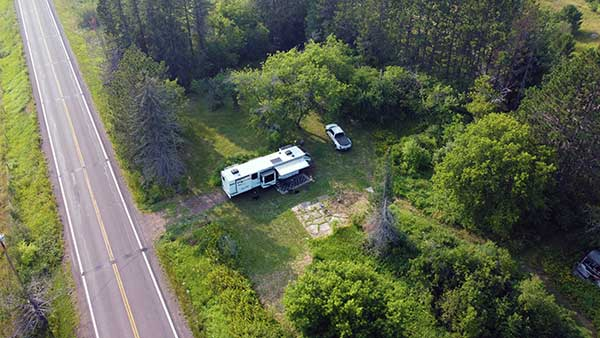 Aerial view of our campsite
