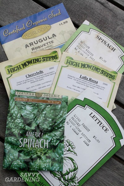Seed packets purchased via seed catalogs.