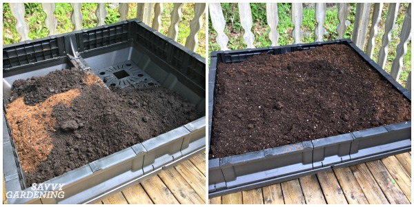 Fill your Vegepod with a mixture of compost and potting soil.