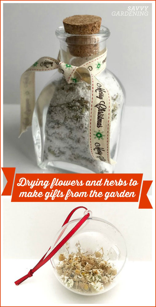 drying herbs and flowers to make gifts from the garden