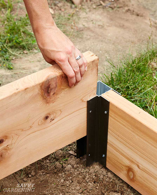 Corners are a really easy way to set up a raised bed in an afternoon.