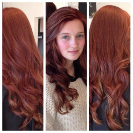 Cut and colour, long red curls
