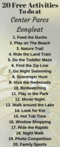We love going to Center Parcs on holiday but the activities can be expesnsive. Here are my top 20 things to do for free at Center Parcs Longleat Forest