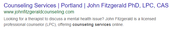 SEO for counselor search engine results