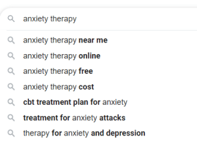 Google autocomplete for anxiety therapy/