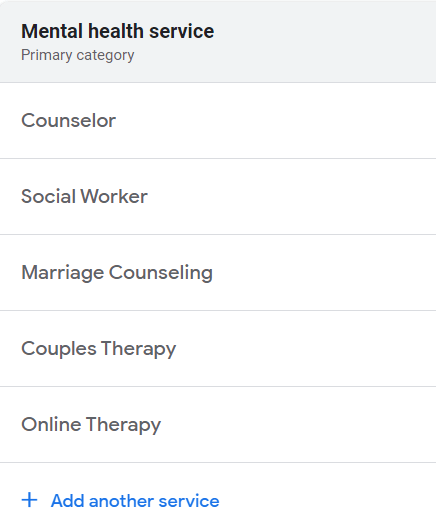 Google My Business categories for therapists.