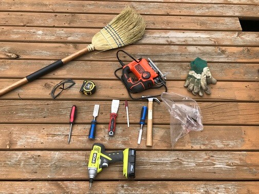 tools and materials for repairing damaged deck boards