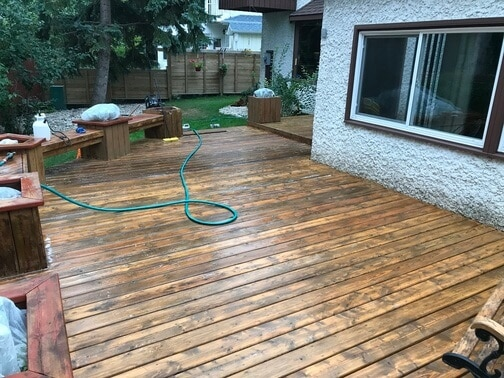 after cleaning the deck