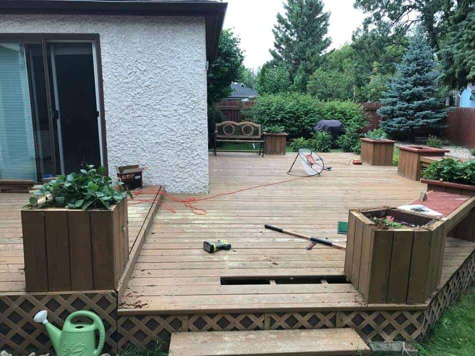 how to strip, sand, clean, and stain an old deck