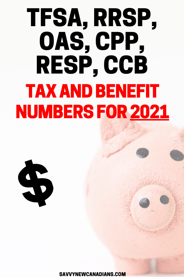 RRSP, TFSA, OAS, CPP, CCB, Tax and Benefit Numbers For 2021