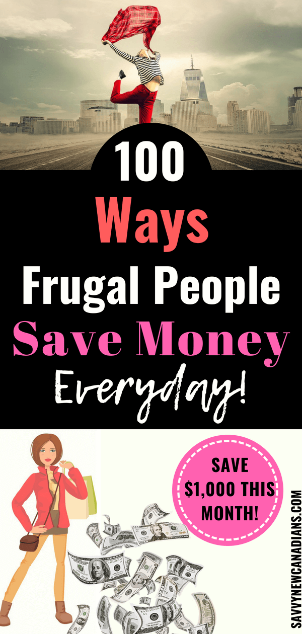 100 Ways Frugal People Save Money Everyday. These proven strategies can help you save an extra $20,000 every year easily. Click to read and also PIN for later. Start saving money today! #savemoney #savingmoney #savemoneyfast #increasewealth #groceryshopping #finances #investing #wealth #savings