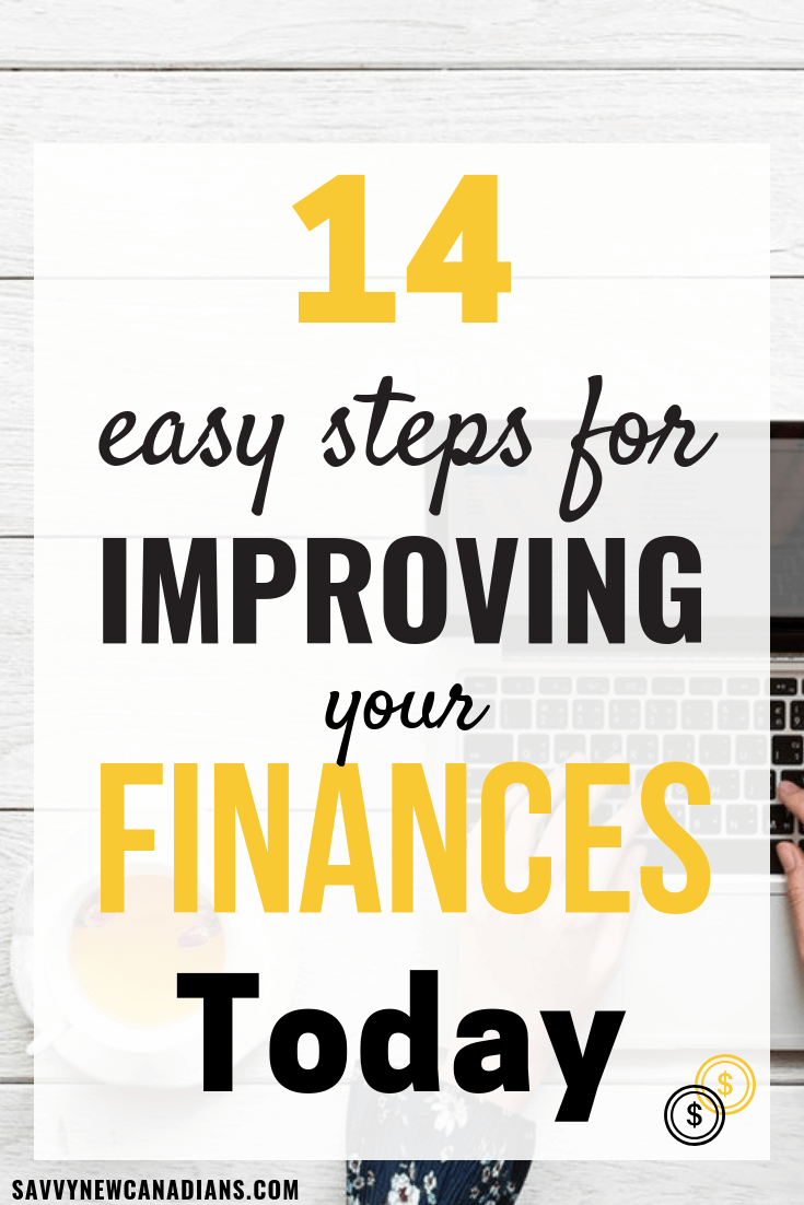 14 Ways to improve your finances right now! These personal finance tips will show you how to budget, spend smartly, save money, pay off debt, invest, and manage your money. You can become financially-free today. Click to start now and PIN for later. #financialplanning #finances #debtfree #personalfinancetips
