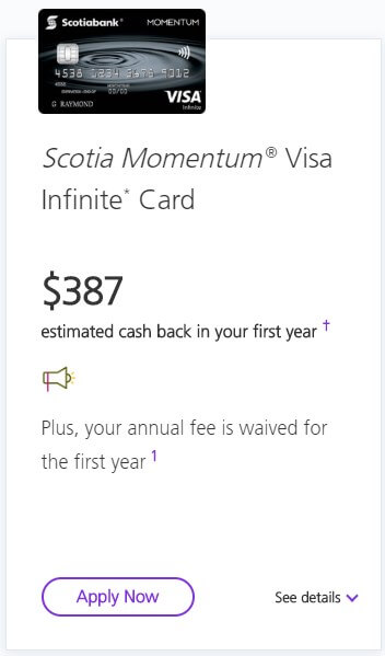 Scotia Momentum Visa Infinite rewards