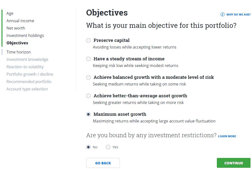 Questwealth portfolio questionnaire