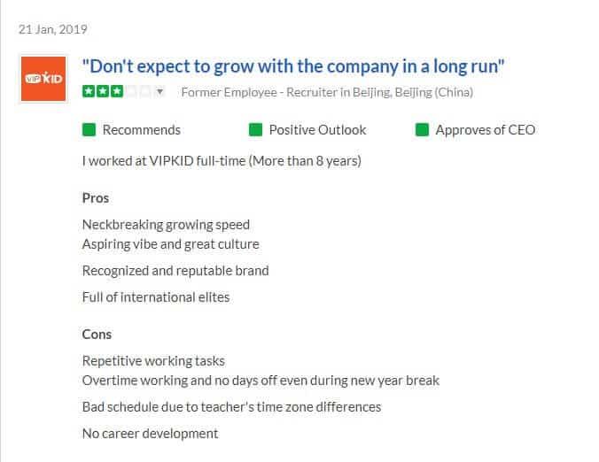 VIPKID Negative Reviews