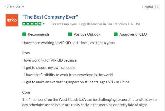 VIPKID Positive review 2