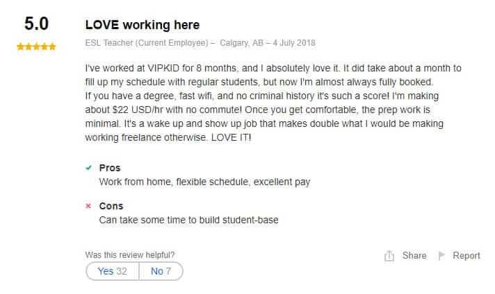 VIPKID Positive review