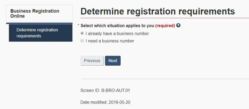 Business number registration 2