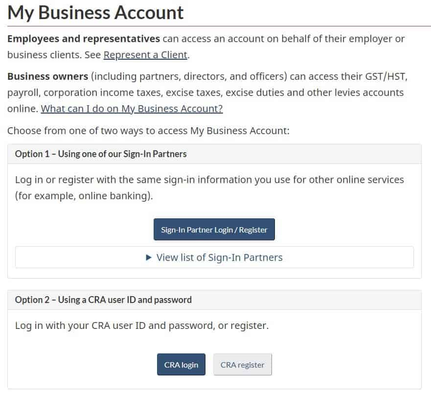 CRA My Account Business