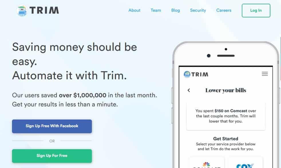 Trim app save money