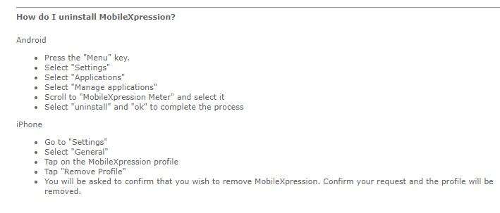 mobilexpression uninstall