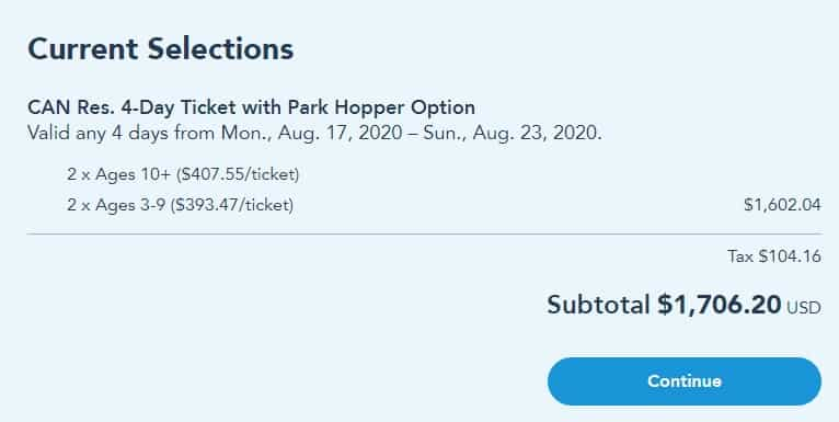 Disney World Parks cost hopper option