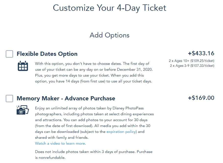 Disney World Theme Park Tickets extra options