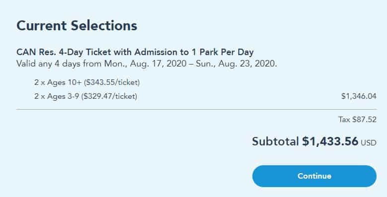 Walt Disney World Ticket Cost for Park per day