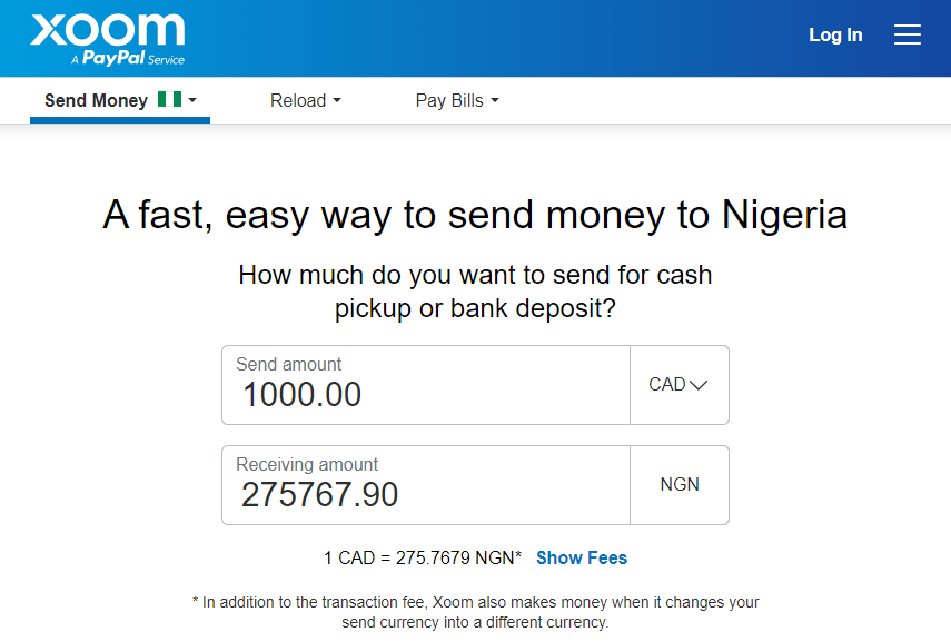 Xoom Money Transfer from Canada to Nigeria