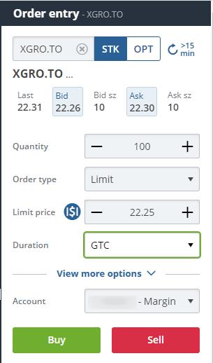 XGRO Order on Questrade