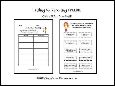 Tattling Vs Reporting Freebie