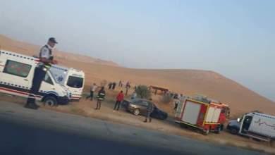 Photo of إصابة 27 شخص اثر حادث تدهور حافلة في المفرق / صور