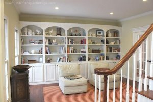 library with built-in bookcases